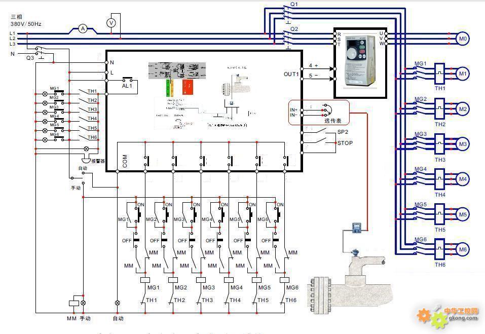 三菱PLC 变频器一拖N接线图