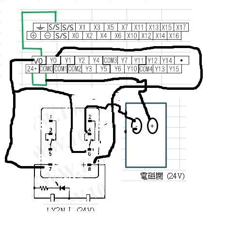 求解三菱plc通过继电器控制电磁阀的具体接线